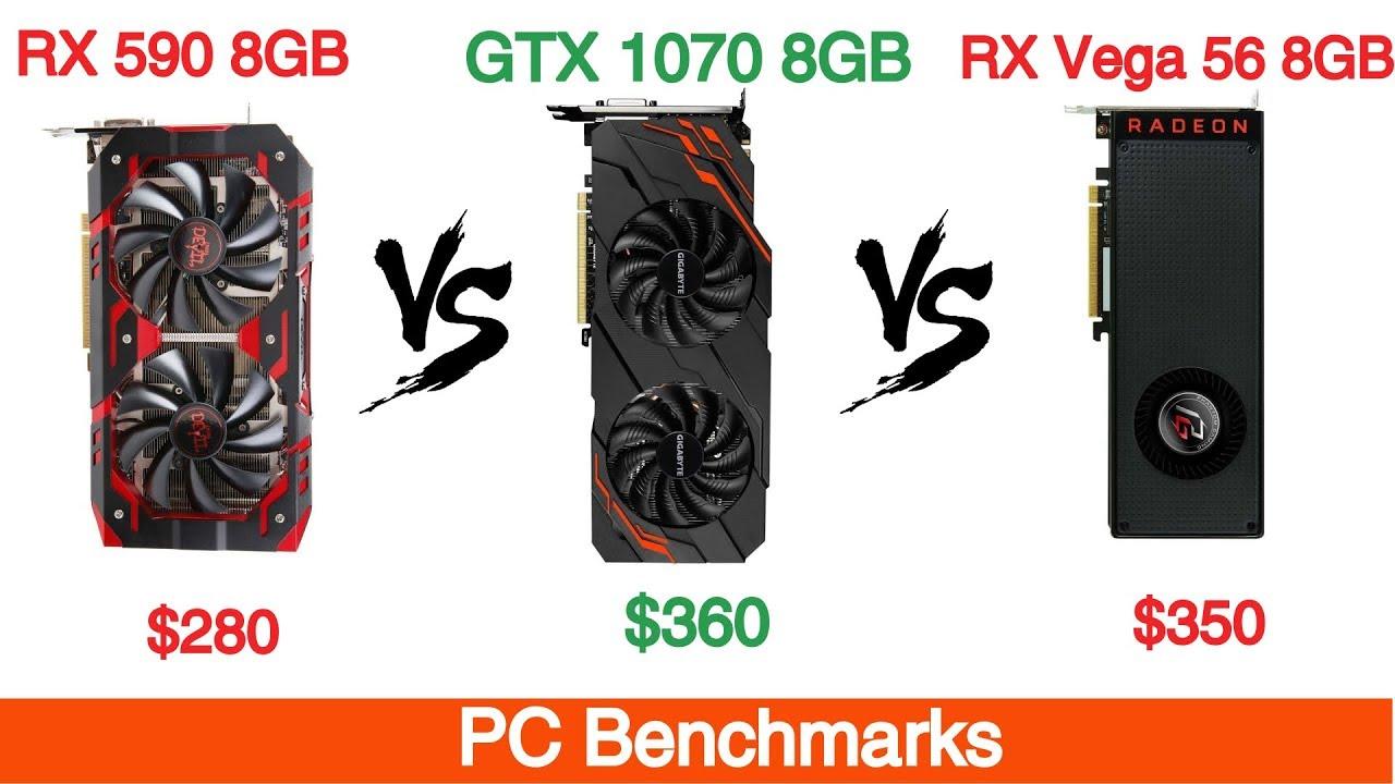 AMD Radeon RX 590 vs Nvidia GTX 1070 vs AMD RX Vega 56 1080p 1440p and 4K  Benchmarks