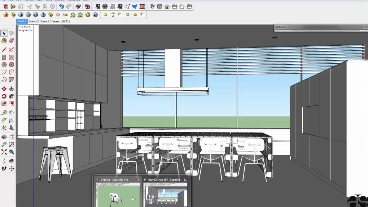 Making of grey kitchen with vray sketchup youtube for Architecte 3d vs sketchup