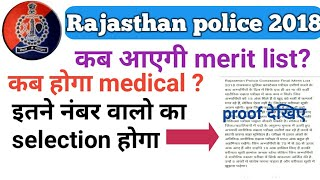 Rajasthan police 2018 merit list and medical information। Latest update ।In Hindi