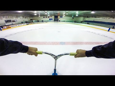 SCOOTERING ON ICE RINK!