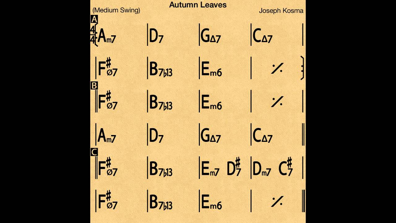 autumn leaves slow backing track play along youtube