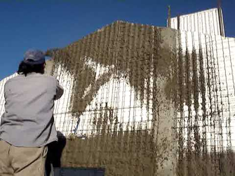 Installation Of Foamcrete Polystyrene Panels Spray Of