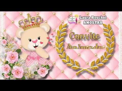 Convite Animado Ursinha Realeza Rosa 2 - 7 fotos