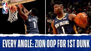 Every Angle: Zion Slams It Home For First NBA Dunk!