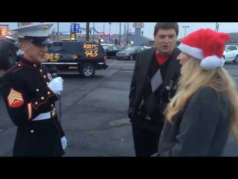 Kelly West talks to Marines, Steve Hahn at Toys for Tots event