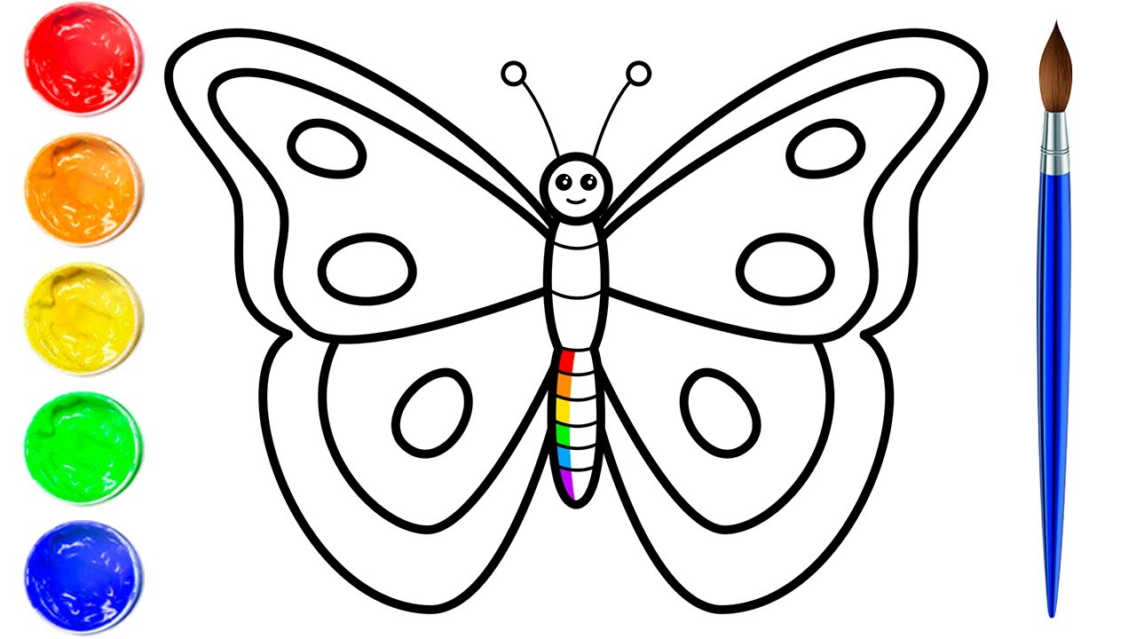 Coloring Rainbow Butterfly Coloring Pages Art And Coloring Fun Youtube