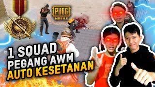 GILA 1 SQUAD PEGANG AWM AUTO KESETANAN SEMUA - PUBG MOBILE INDONESIA