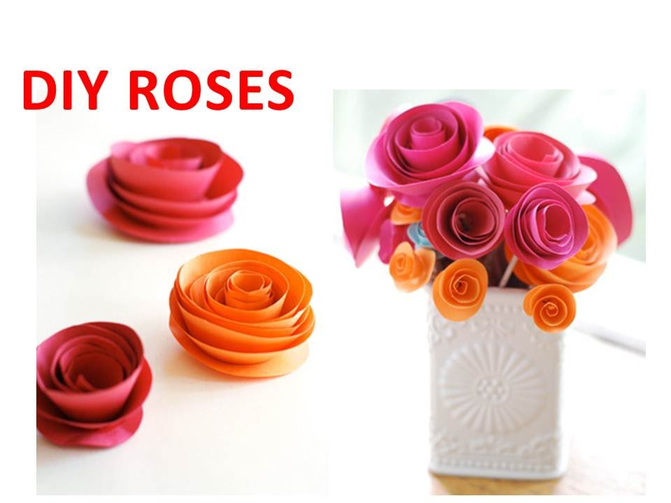 Diy how to make rolled paper roses youtube mightylinksfo