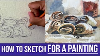How to Draw & Sketch for a Watercolor Painting