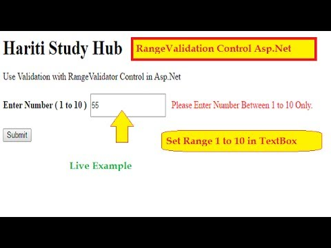 How to Use RangeValidator Control in Asp.Net C# | Validation in Asp.Net | Hindi | Online Classes
