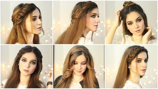6 Easy Hairstyles| hairstyles for girls| Open hairstyles | Hairstyle for Eid| how to style long hair