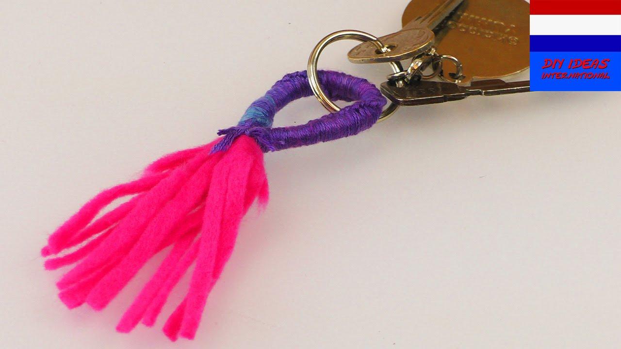Genoeg Zelf sleutelhanger maken   zelf kwast maken   knutselen met #EY39