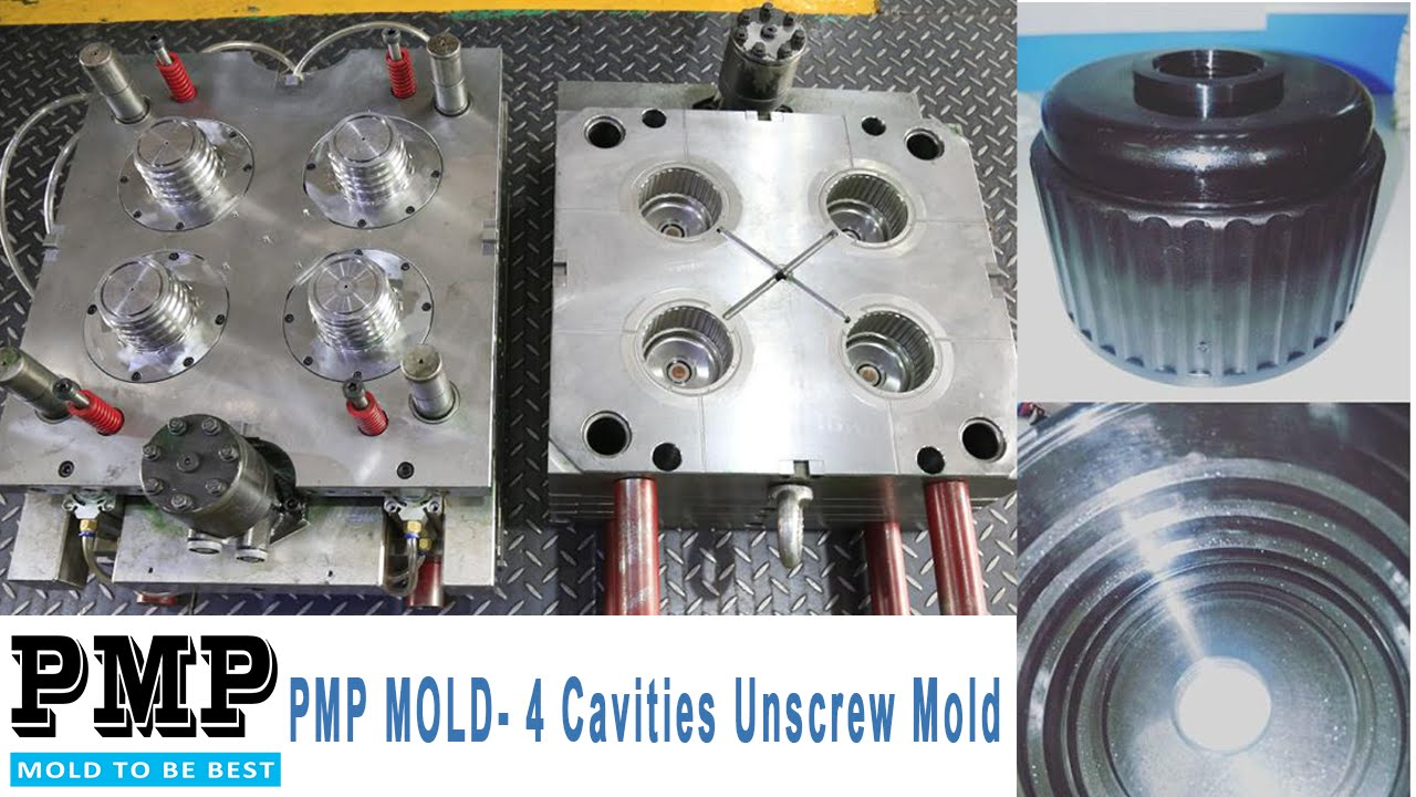 4 Cavities Unscrew Mold  PMP MOLD  YouTube
