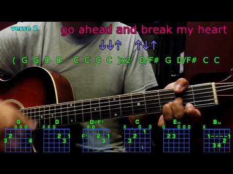 go ahead and break my heart blake shelton guitar chords
