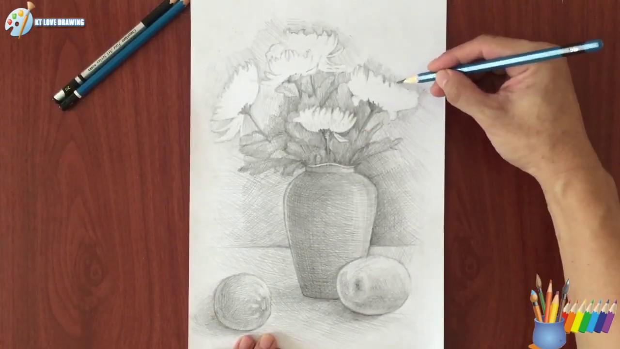 Vẽ tĩnh vật chì lọ hoa và quả / Painting still objects lead