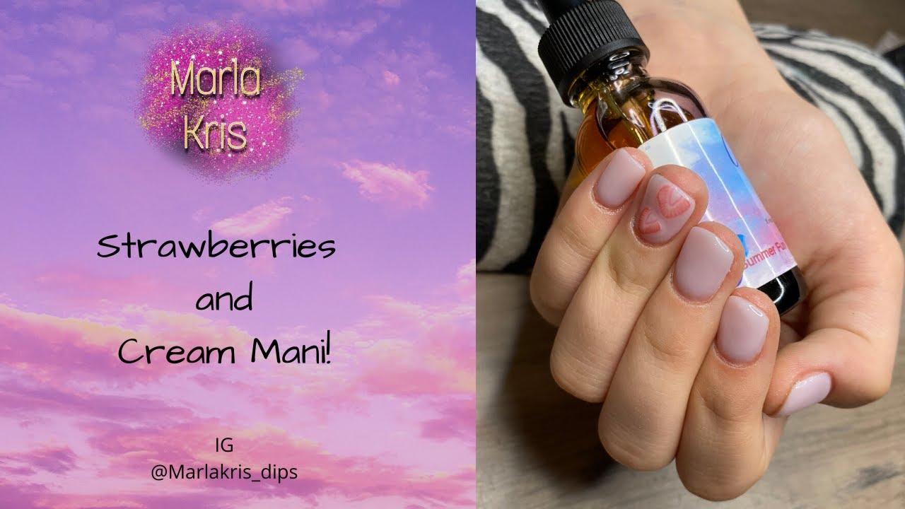 Encapsulated Fruit In Dip Powder | Strawberries and Cream Mani!