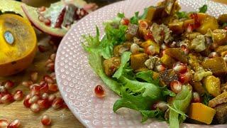 Рецепты из хурмы Тёплый салат с жареной хурмой мясом и гранатом