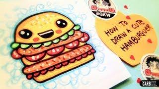 kawaii drawings easy draw garbi kw popcorn hamburguer illustrations