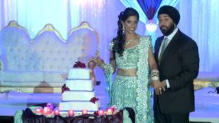 Wedding Cake Cutting at An Indian Wedding Reception Long Island NYC Videographer Photographer