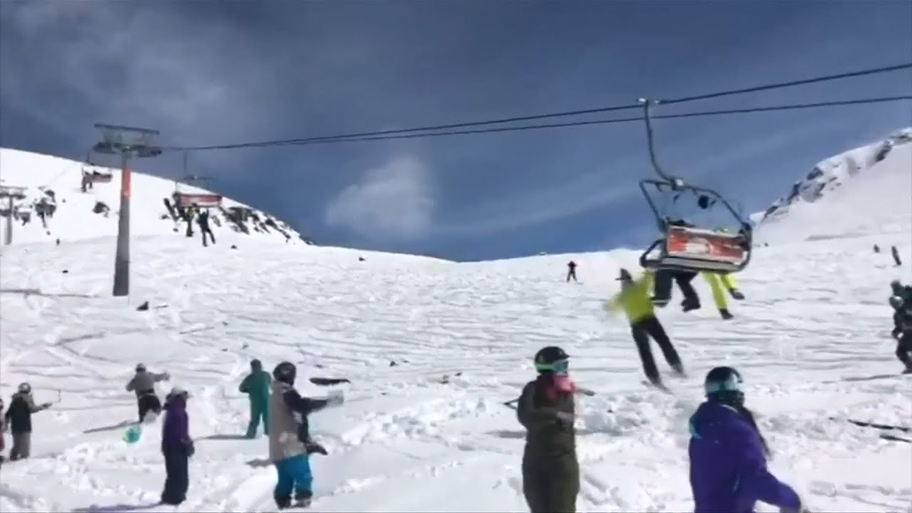 Skiers flung from malfunctioning lift in Georgia ski resort – video