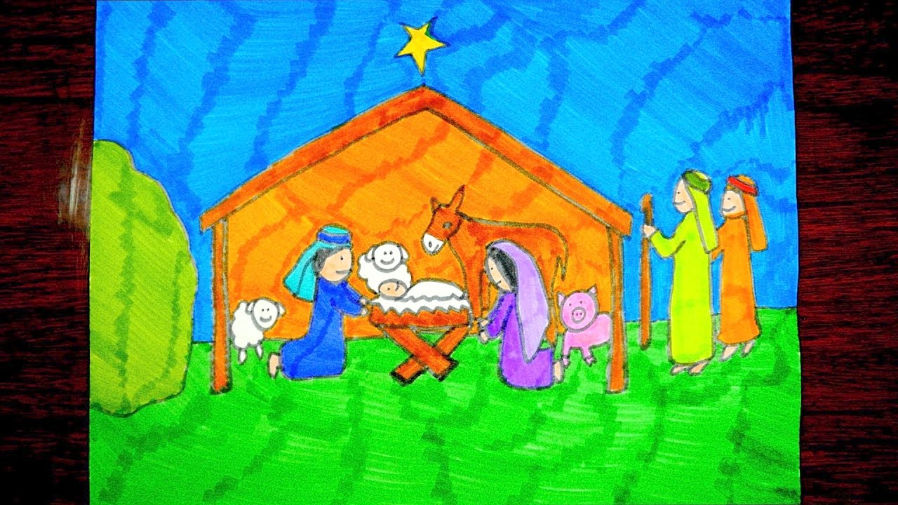 How To Draw A Nativity Scene Christmas Drawings For Kids Youtube