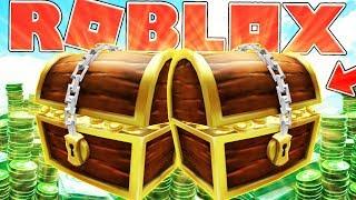 DOUBLE TREASURE CHEST MONEY (ROBUX) $$$ - ROBLOX TREASURE HUNT SIMULATOR #4