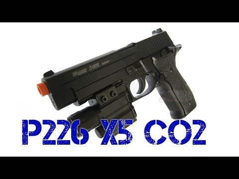 SIG Sauer P226 X5 Full Metal CO2 Blowback Airsoft Pistol, Silver & Wood