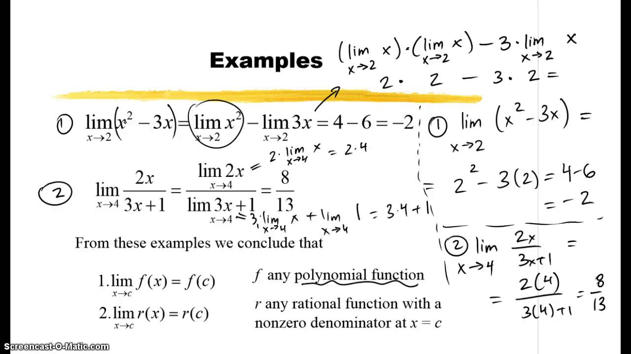 10.1 - Evaluating Limits; Indeterminate Form - YouTube