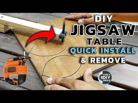 DIY Jigsaw table you never saw - using a garden table & thread inserts