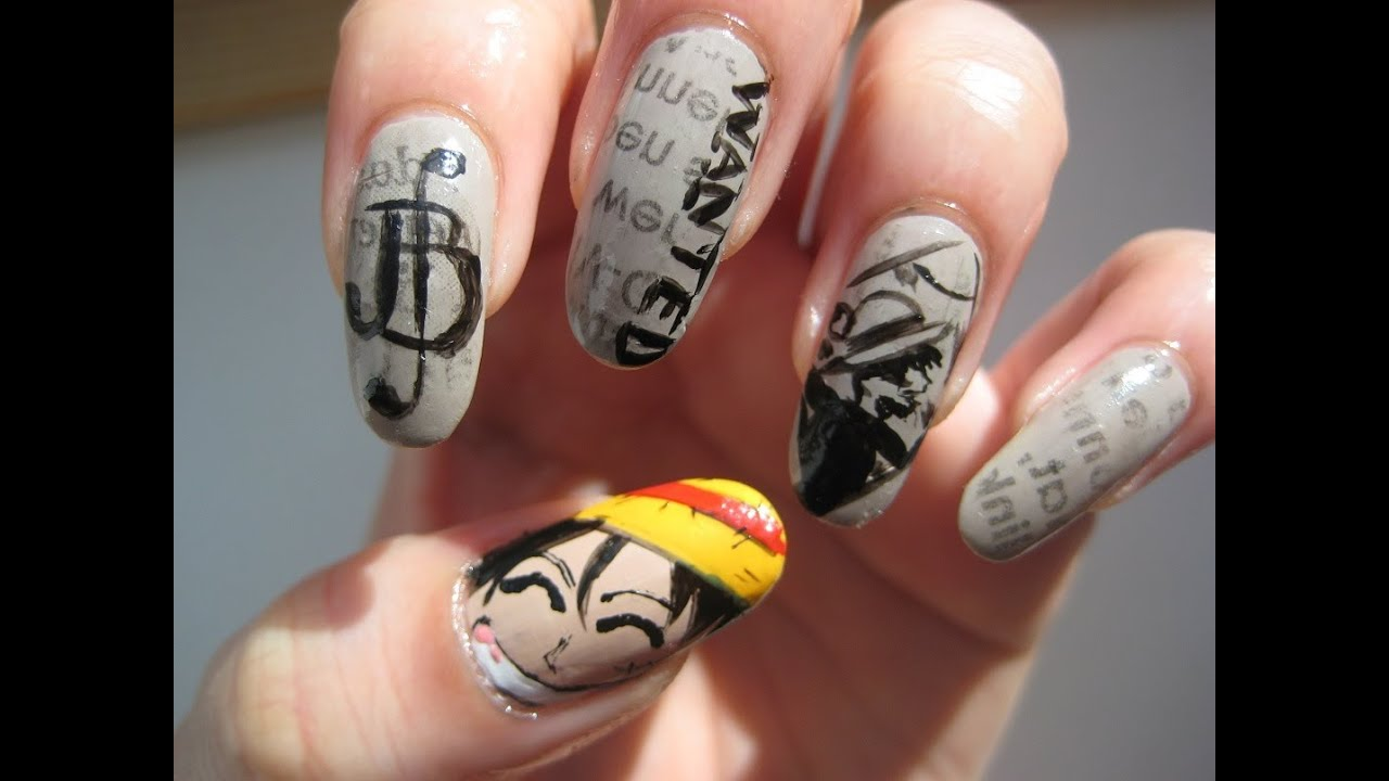 ONE PIECE nail art: Monkey D. Luffy Wanted Poster - YouTube