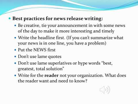 Intro to news, news releases