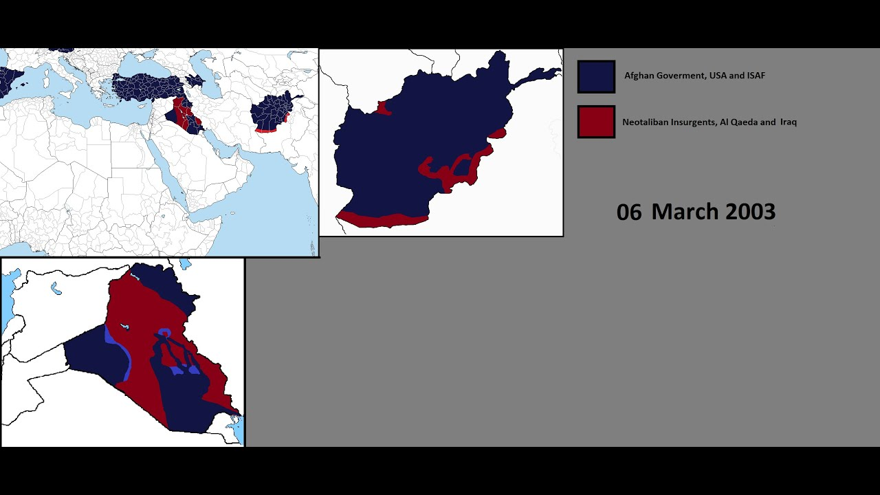 The War On Terror Years In Minutes YouTube - Us invasion of afghanistan everyday map