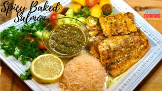 Spicy Baked Wild SaĮmon   How To Make Oven Baked Salmon   Myla's Cooking