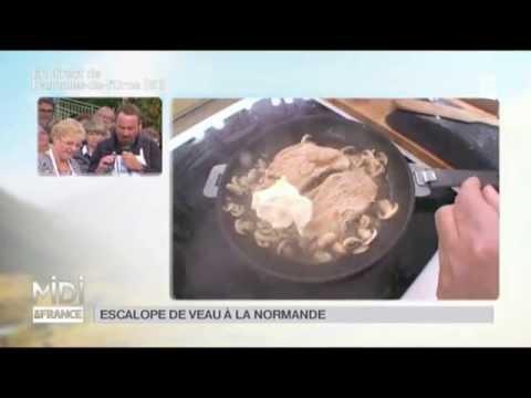 recette-:-escalope-de-veau-à-la-normande-flambée-au-calvados-et-champignons
