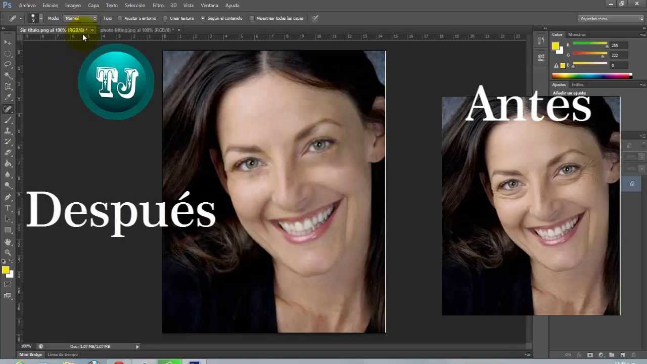 Curso Photoshop Cs6 B Clase 8 Borrar Arrugas E Imperfecciones Youtube