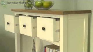"""Cotswold Cream Painted Shaker Solid Oak 36"""" Low Wide Display Unit From Oak Furniture Land"""