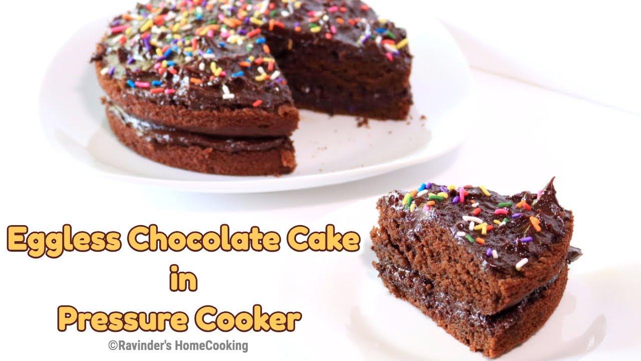 EGGLESS CHOCOLATE CAKE in Pressure Cooker || Rich & Moist ...