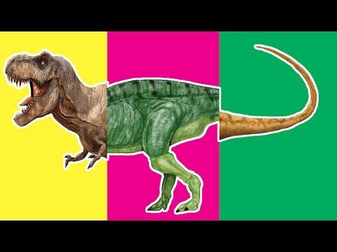 Wrong Heads Dinosaurs! Match Up Game For Kid. T-Rex Parasaurolophus Tsintaosaurus Velociraptor