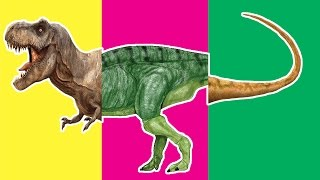 Wrong Heads Dinosaurs! Match Up Game For Kid. T-Rex Parasaurolophus Tsintaosaurus Velociraptor
