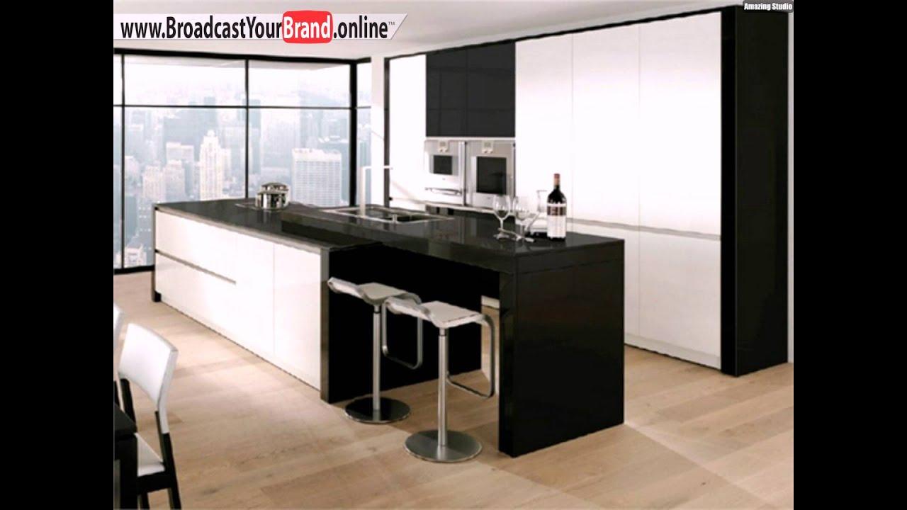 schwarz wei e k che lange k chentheke barst hle youtube. Black Bedroom Furniture Sets. Home Design Ideas