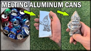 Casting An Aluminum Garden Gnome \u0026 Ingot From Soda Cans - Lost PLA Casting Process