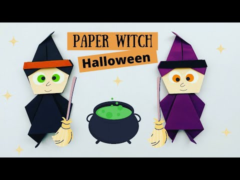 How To Make Easy Paper Witch For Kids / Halloween / Paper Craft / KIDS crafts / Nusery Craft Ideas