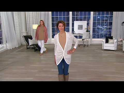 H by Halston Long Sleeve Metallic Thread Button Front Cardigan on QVC