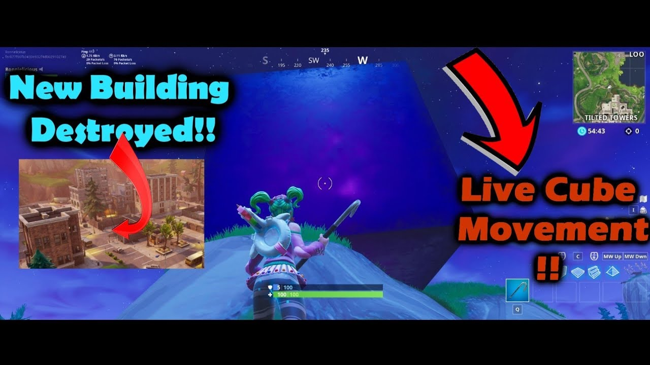 THE CUBE DESTROYED THE NEW BUILDING IN TILTED TOWERS! CUBE NEW LOCATION!!