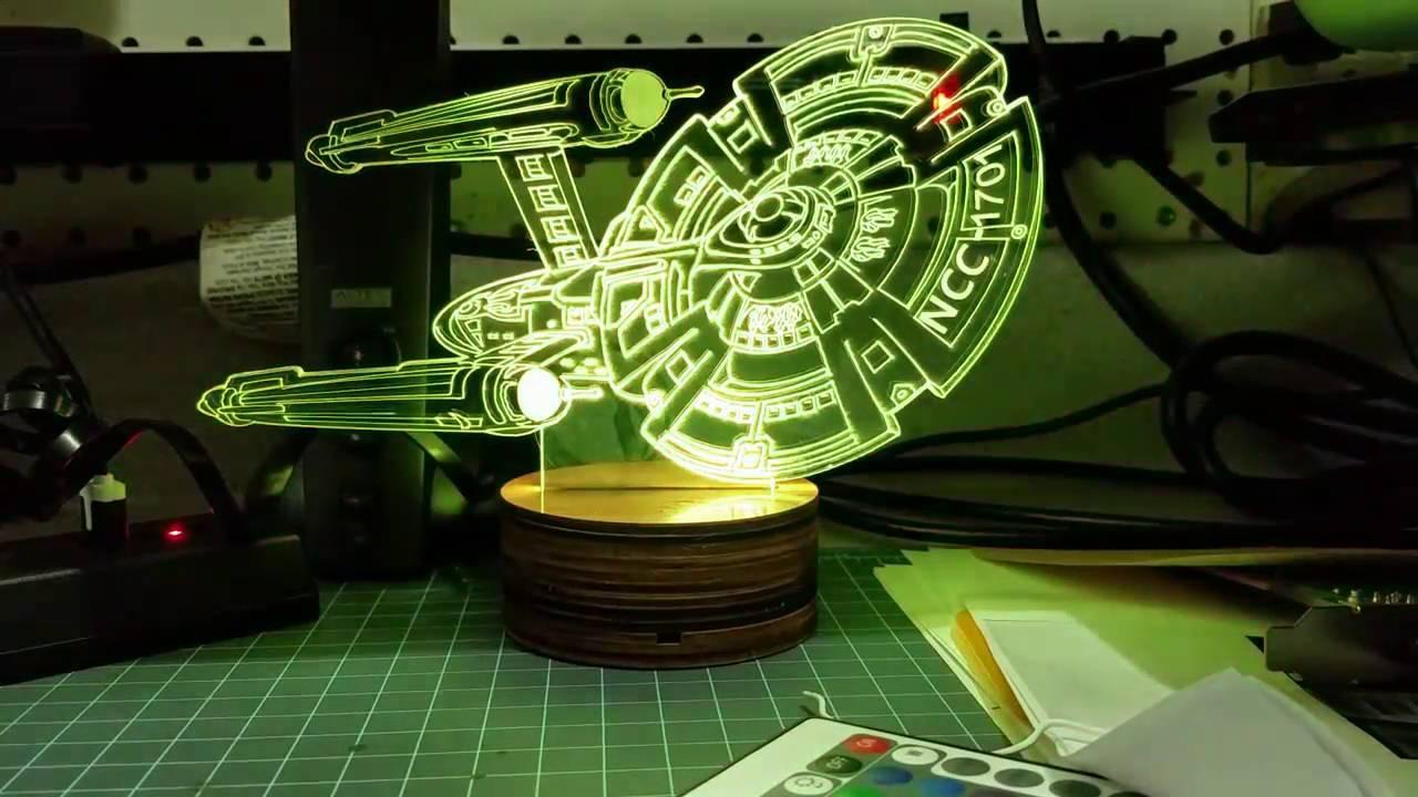 Star Trek Uss Enterprise 3d Led Night Light 7 Color Touch