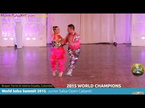 WSS15. Feb7. Junior Salsa Cabaret World Champions Brayan Torres & Valeria Orjuela, Colombia. 4K UHD.