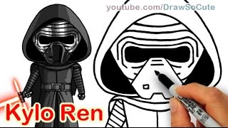 How to Draw Star Wars Kylo Ren step by step  Cute The Force Awakens
