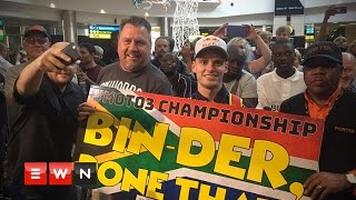 After nabbing the title of Moto 3 champion, Brad Binder returned home to finally celebrate with family, friends and fan.  Like and follow us on: http://bit.ly/EWNFacebook AND https://twitter.com/ewnupdates   Keep up to date with all your local and international news: https://ewn.co.za    Produced by: Kgothatso Mogale