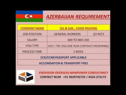 Required For Azerbaijan Urgently Required Jobs in Azerbaijan (Europe) Apply soon Share it to Friends