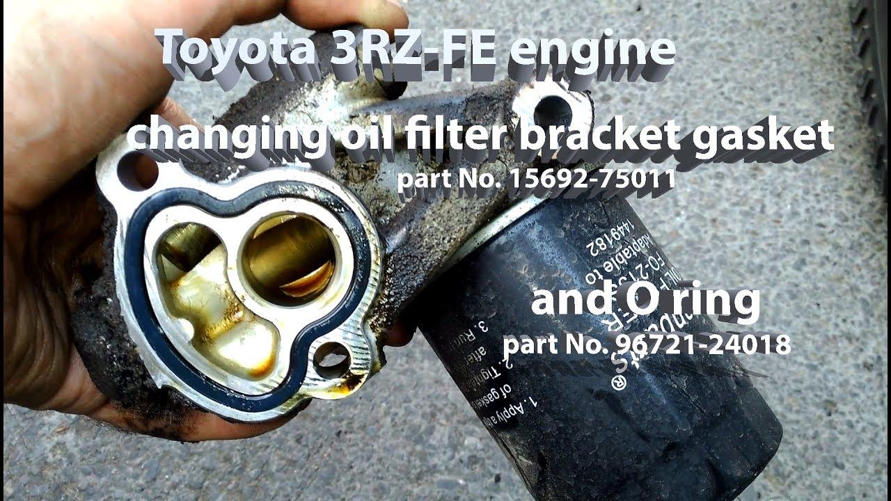3rz-fe engine changing oil filter bracket gasket - youtube